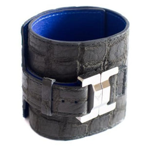 Salomé Lambskin Black Mock Croc Wide Cuff