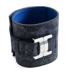 Salomé Bleu Marine Leather & Steel Wide Cuff
