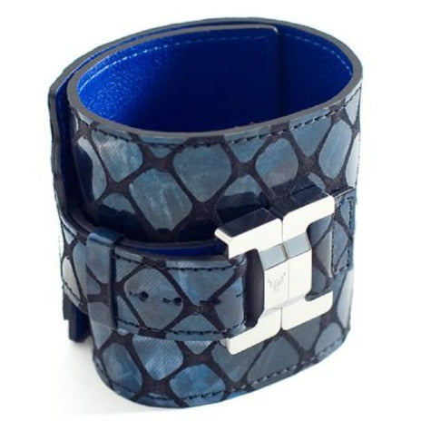 Salomé Navy Leather & Steel Wide Cuff