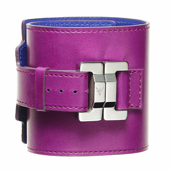 Salomé Raisin Leather & Steel Wide Cuff