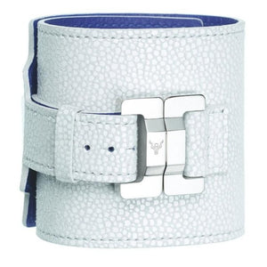 Salomé Snow White Leather & Steel Wide Cuff