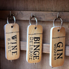 Rustic Wooden Keyrings by Wotmalike Ltd