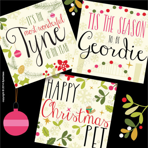 geordie christmas card tree merry christmas good & a deed good new year geordie christmas card