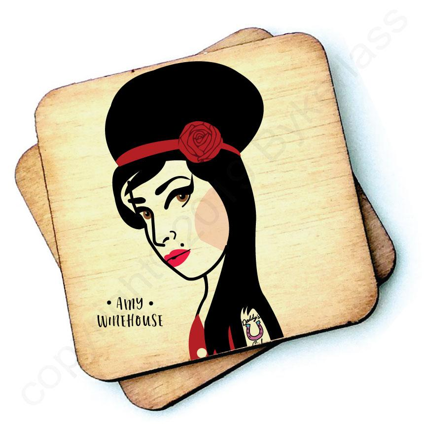 Amy Winehouse Rustic Character Wooden Coaster by Wotmalike