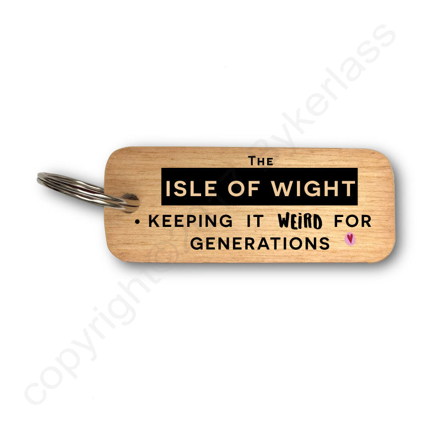 Keeping it Weird  Isle of Wight Wooden Keyring by wotmalike