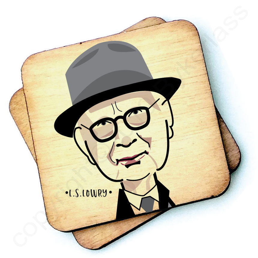 L S Lowry Character Wooden Coaster by wotmalike