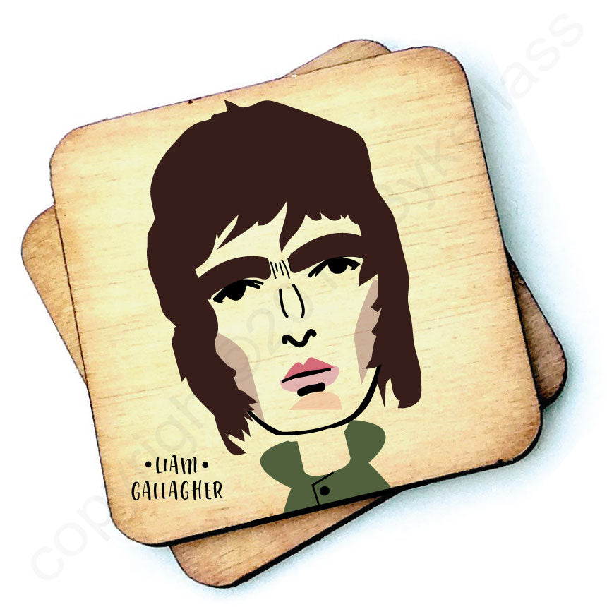 Liam Gallagher Character Wooden Coaster by wotmalike
