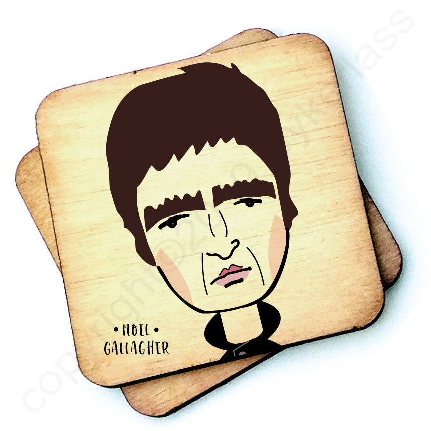 Noel Gallagher Character Wooden Coaster by Wotmalike