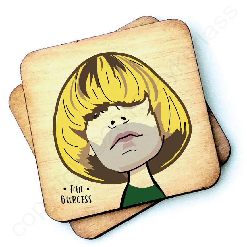 Tim Burgess Character Wooden Coaster by Wotmalike