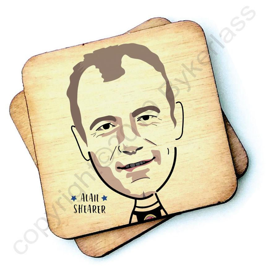 Alan Shearer - Character Wooden Coaster by Wotmalike