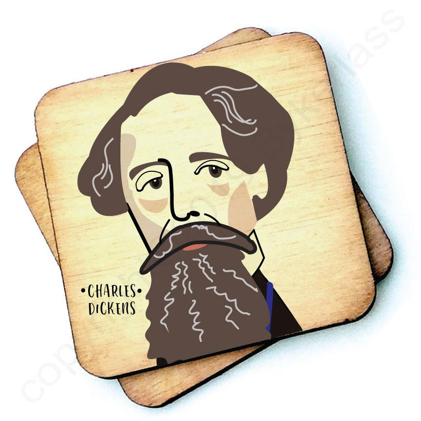 Charles Dickens - Character Wooden Coaster by Wotmalike