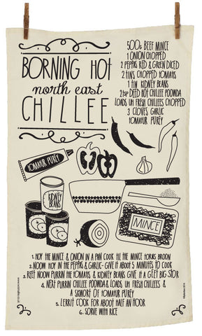 North East Chilli Recipe Tea Towel  (1GTTchilli)