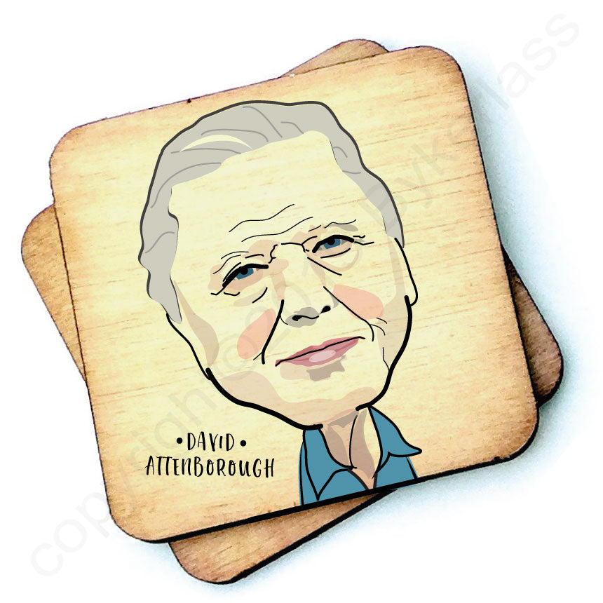 David Attenborough Rustic Character Wooden Coaster by Wotmalike