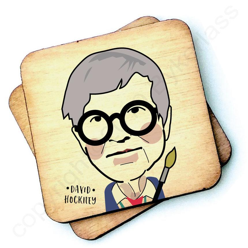 David Hockney - Character Wooden Coaster by Wotmalike