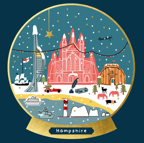Hampshire Snow Globe Christmas Card --- FX145