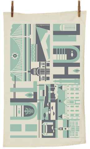 Hull City Scape Tea Towel in Pistachio & Charcoal (HCTT1)