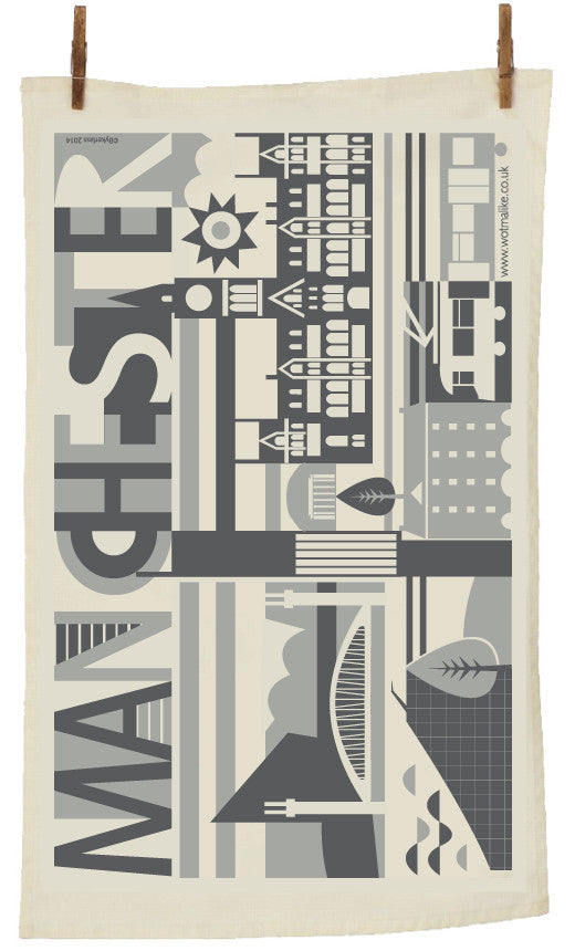 City Scape Manchester City Tea Towel by Wotmalike