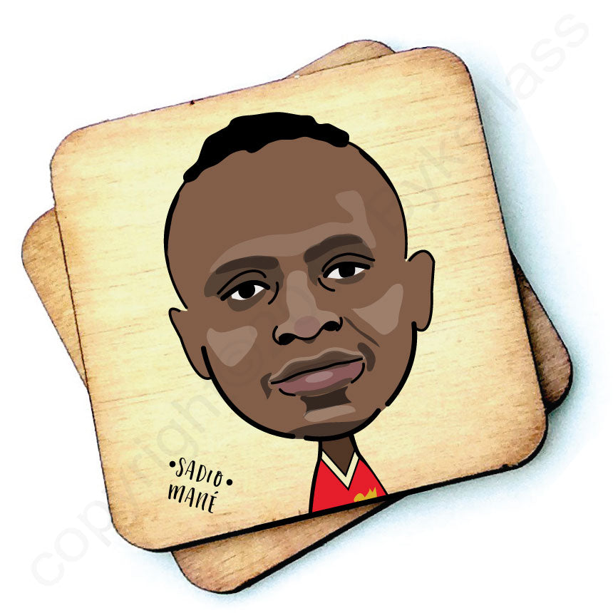 Sadio Mané Rustic Character Wooden Coaster by Wotmalike
