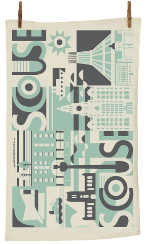 Scouse City Tea Towel in Pistachio & Charcoal (STTCity)