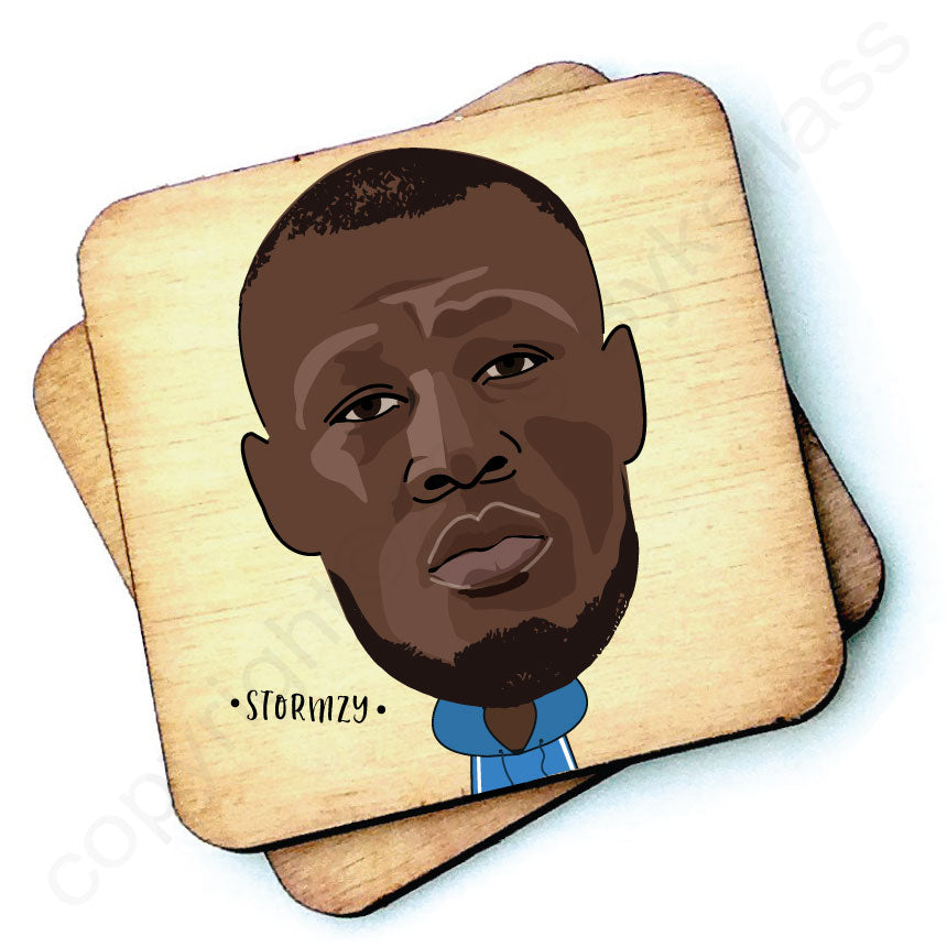 Stormzy Rustic Character Wooden Coaster by Wotmalike