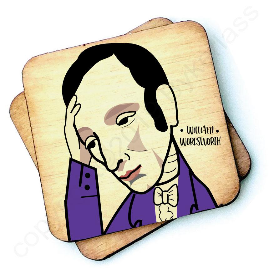 William Wordsworth - Character Wooden Coaster by Wotmalike