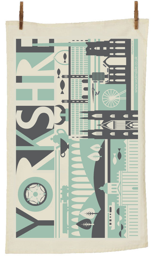 Yorkshire Scape Yorkshire Tea Towel by Wotmalike