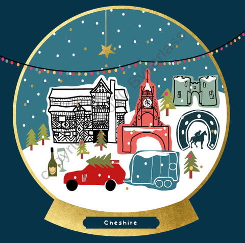 Cheshire Snow Globe Christmas Card --- FX142