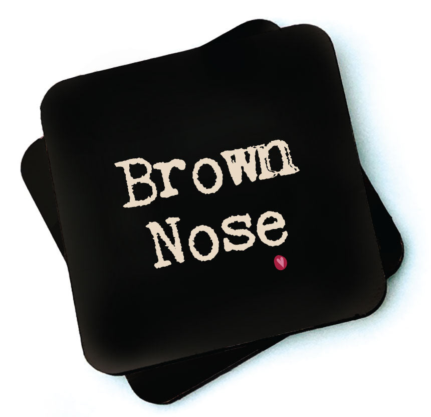 Brown Nose - Dark Collection Wooden Coaster by Wotmalike