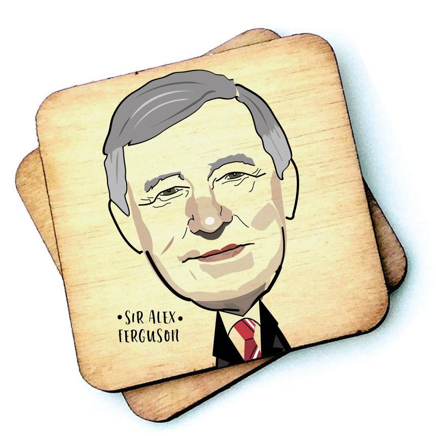 Sir Alex Ferguson - Character Wooden Coaster by Wotmalike