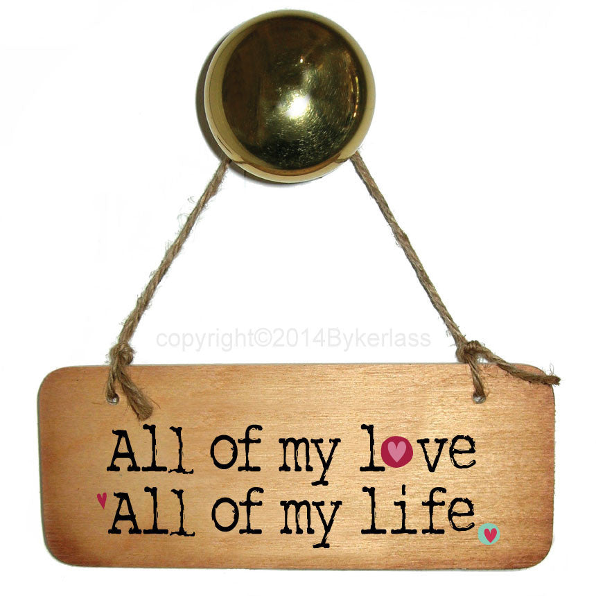 All of my Love, All of my life - Valentines Wooden Sign