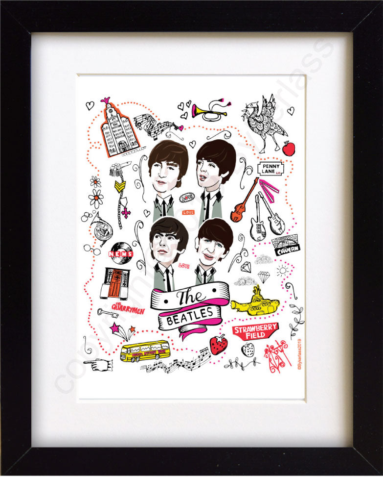The Beatles Mounted Print  by Wotmalike Ltd