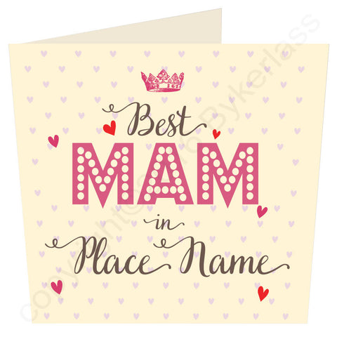 Large Best Mam, Mum, Mother, Gran, in..... CREAM Bespoke Geordie Card (MB35)