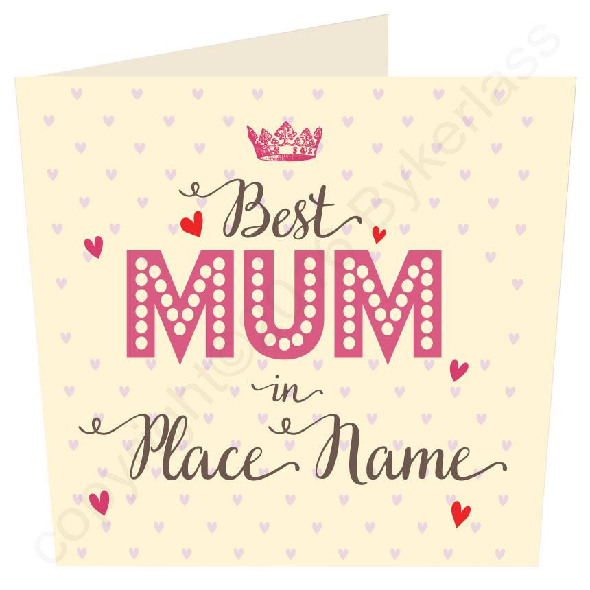 Large Best Mam, Mum, Mother, Gran, in...... Personalised Card by Wotmalike