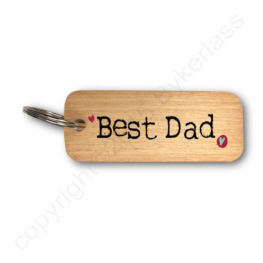 Best Dad Rustic Wooden Keyring