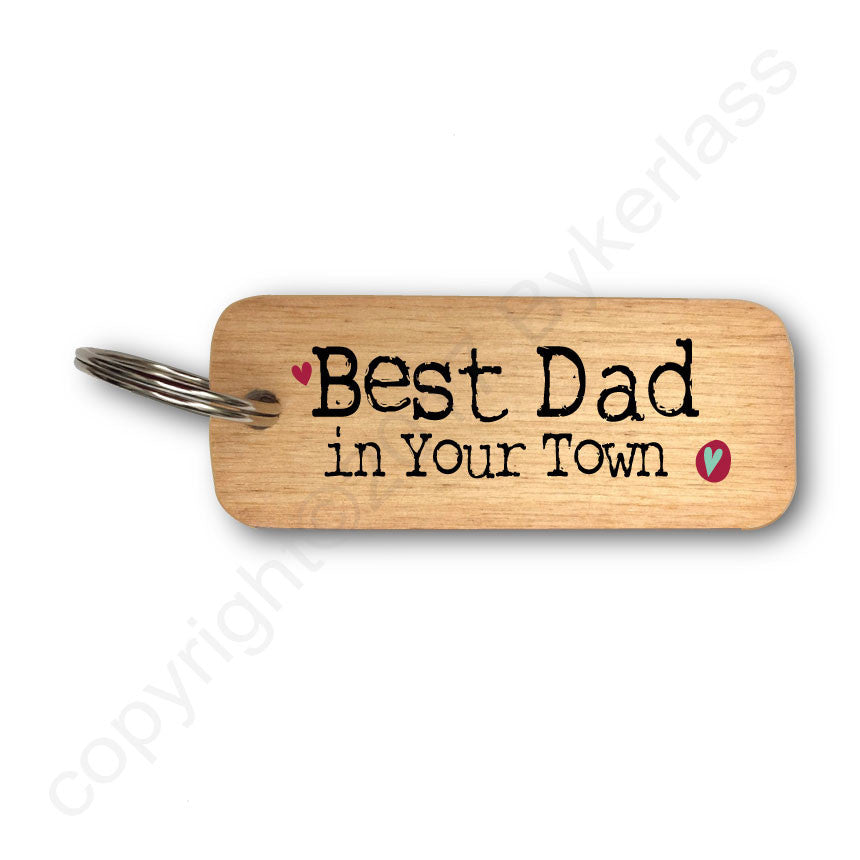 Best Dad in YOUR CHOICE Personalised Rustic Wooden Keyring