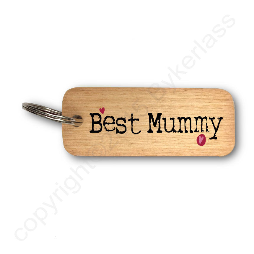 Best Mummy Rustic Wooden Keyring by Wotmalike