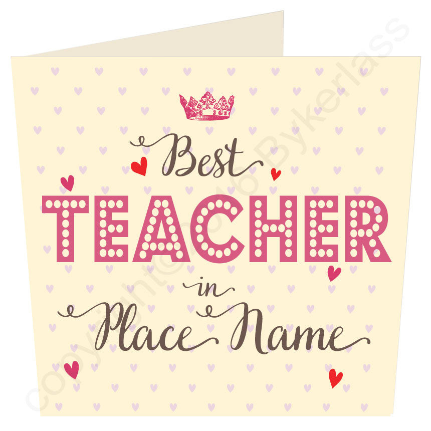 CREAM Large Best Teacher  in...... Personalised Card by Wotmalike