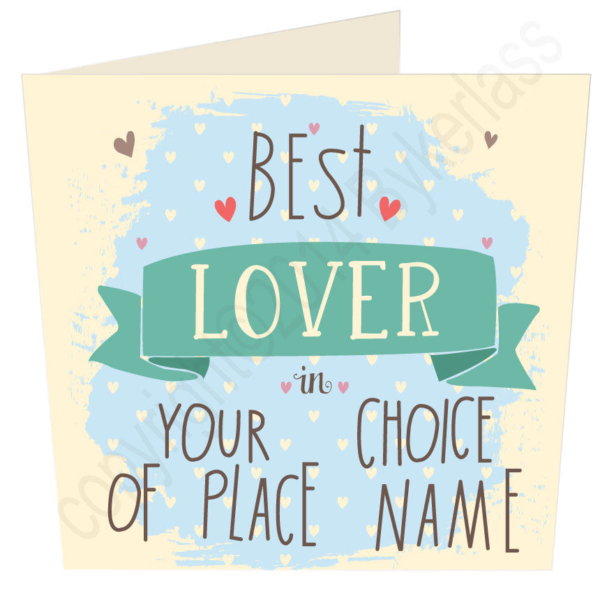 Best Lover in ....(blue) personalised Valentines Card