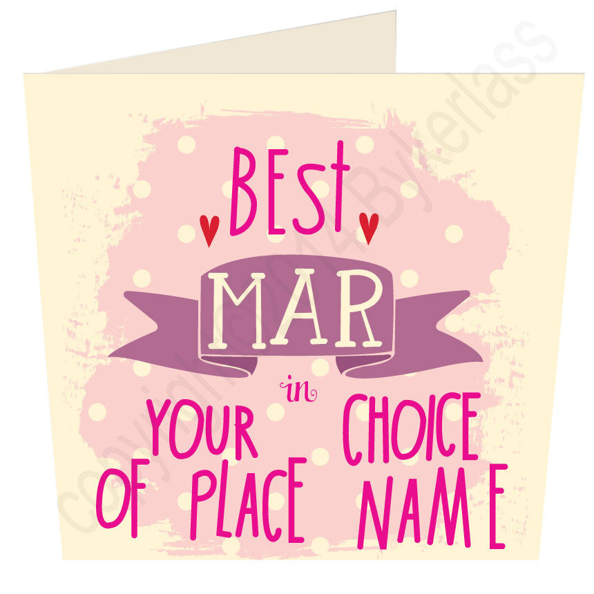 "Best  Mar in ""Your Choice"" Personalised Card"