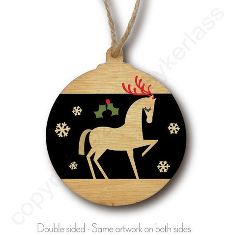 Gorgeous Horse Rustic Wooden Christmas Bauble  - DOUBLE SIDED  RWB1