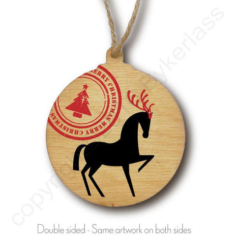 Horse With Stamp Wooden Christmas Bauble  - DOUBLE SIDED  RWB1