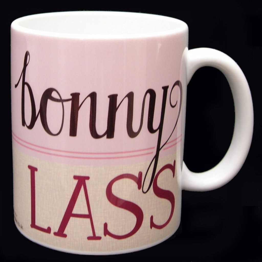 A fabulous mug for a bonny lass - lovely soft stylish colours with hand drawn fonts with a slight retro twist. Quality white large mug would make a lovely gift for any bonny lass no matter where they are from!