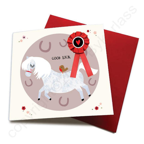 Good Luck - Horse Greeting Card (with satin ribbon rosette)  CHDC15