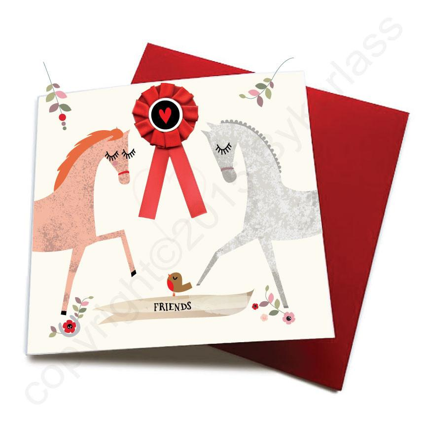 Friends - Horse Greeting Card by Wotmalike