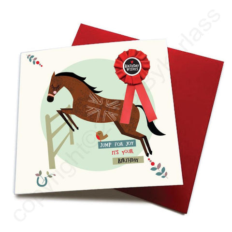 Jump For Joy - Horse Greeting Card (with satin ribbon rosette)  CHDC20