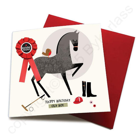 Happy Birthday Old Boy - Horse Greeting Card (with satin ribbon rosette) - CHDC21