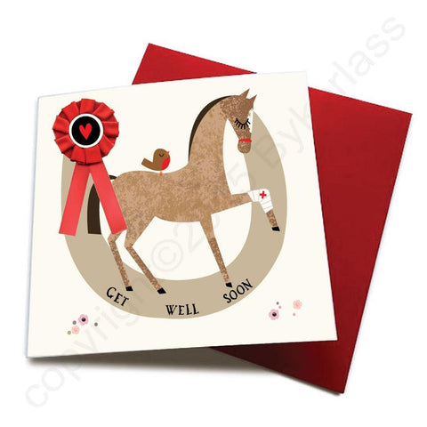 Get Well Soon - Horse Greeting Card (with satin ribbon rosette)  CHDC23