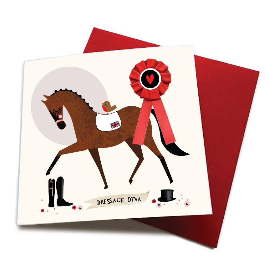 Dressage Diva - Horse Greeting Card (with satin ribbon rosette)
