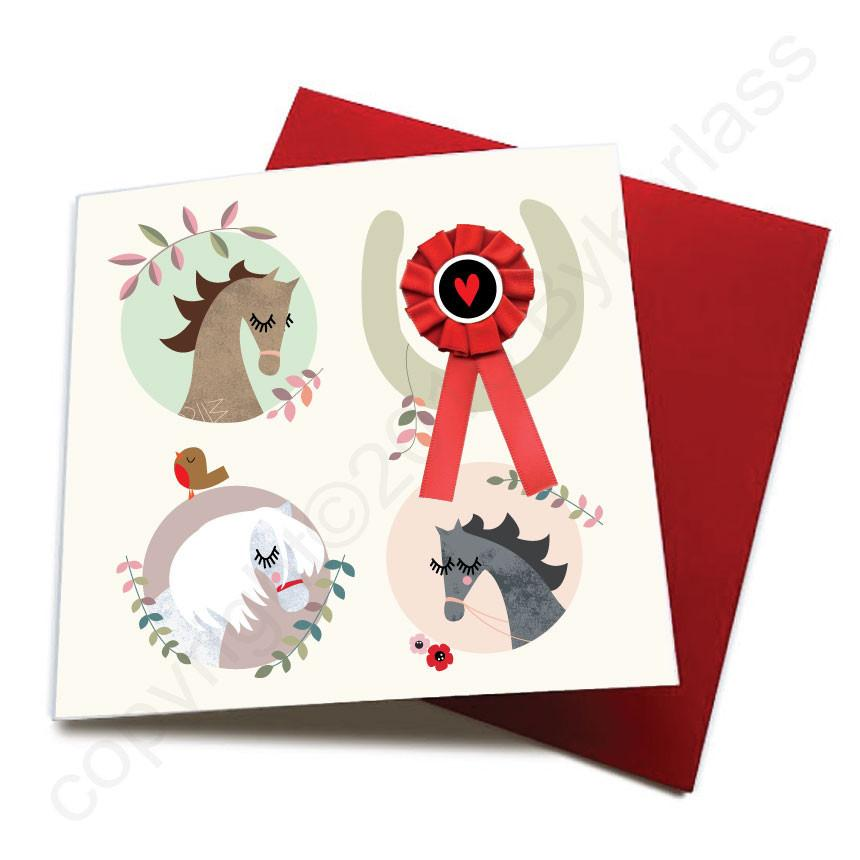 Wotmalike Any Occasion - Horse Greeting Card (with satin ribbon rosette) -  CHDC3