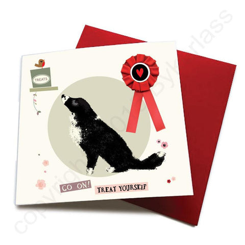 Go On Treat Yourself - Dog Greeting Card (with satin ribbon rosette)  CHDC56
